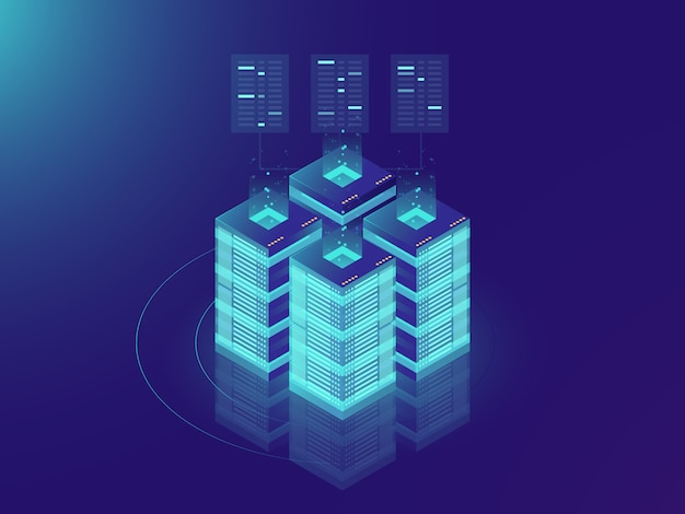 Isometric server room and big data processing concept, datacenter and data base icon Free Vector