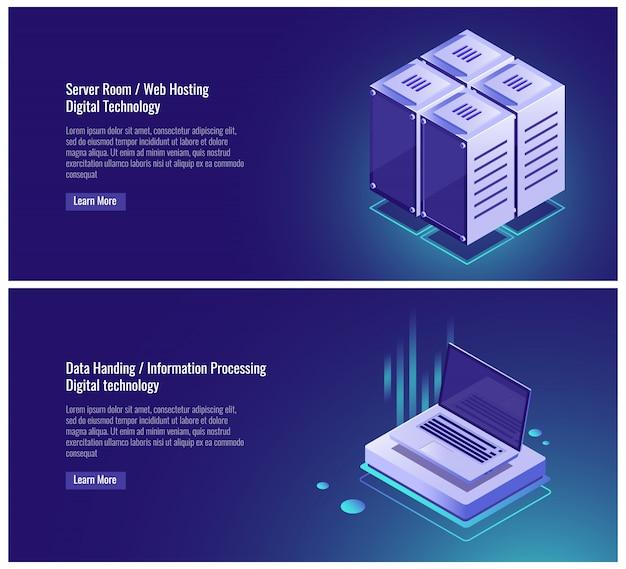 Isometric server room rack, web hosting, cloud data storage, data handing Free Vector