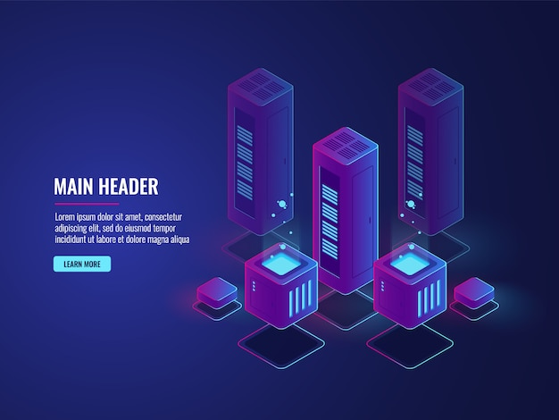 Isometric server room, web hosting services conceptual banner, data encryption and protection center Free Vector