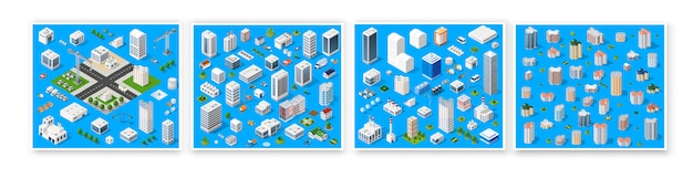 Isometric set 3d module block district part Premium Vector