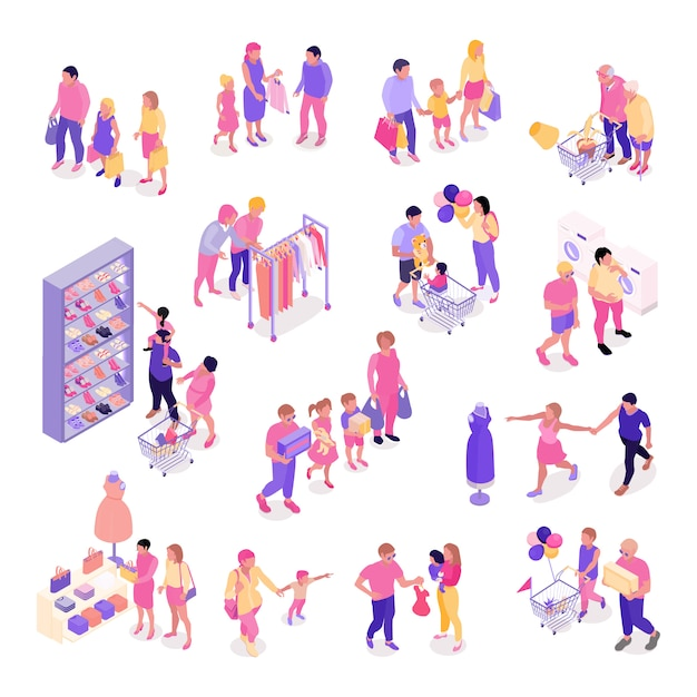 Isometric set of colorful characters with families shopping for clothes shoes interior objects isolated 3d vector illustration Free Vector
