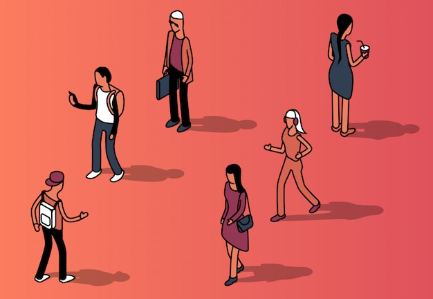 Isometric set of faceless people in casual clothing Free Vector