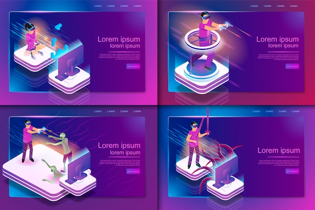 Isometric set gaming experience in virtual reality Premium Vector