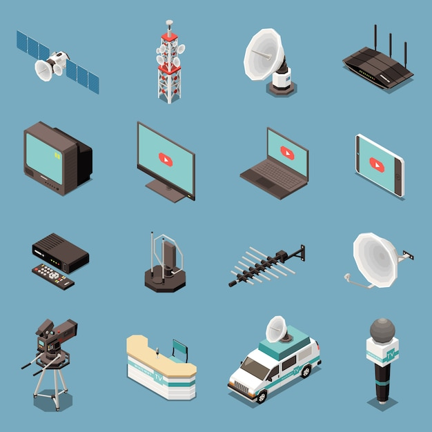 Isometric set of icons with various telecommunication equipment and devices isolated Free Vector
