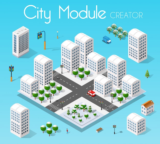 Isometric set module city Premium Vector