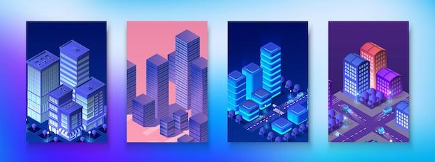 Isometric set module city Premium Vector