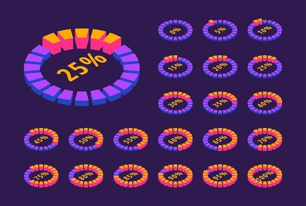 Изометрические набор неоновых круглых полос загрузки. 3d круглые значки процента загрузки. Premium векторы