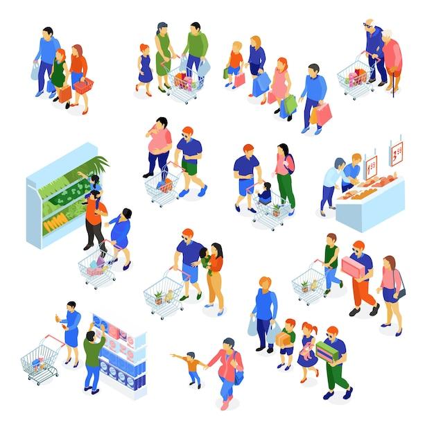 Изометрические набор семей, делающих покупки в супермаркете Бесплатные векторы