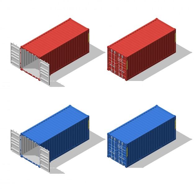 Изометрический набор открытого и закрытого транспортного контейнера. Premium векторы