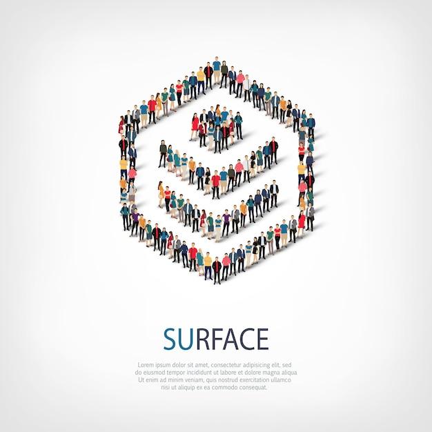 混雑した正方形のスタイル、表面、webインフォグラフィックの概念図の等尺性セット。所定の形状を形成する群集群。クリエイティブな人々。 Premiumベクター