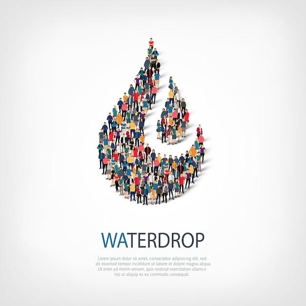 混雑した正方形のスタイル、水滴、webインフォグラフィックの概念図の等尺性セット。所定の形状を形成する群集群。クリエイティブな人々。 Premiumベクター