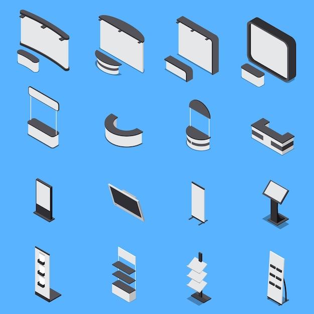 다양 한 전시 스탠드와 파란색 배경에 고립 된 선반의 아이소 메트릭 세트 3d 무료 벡터