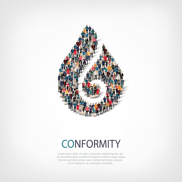 Isometric set of styles abstract symbol , conformity ,web infographics concept of a crowded square Premium Vector