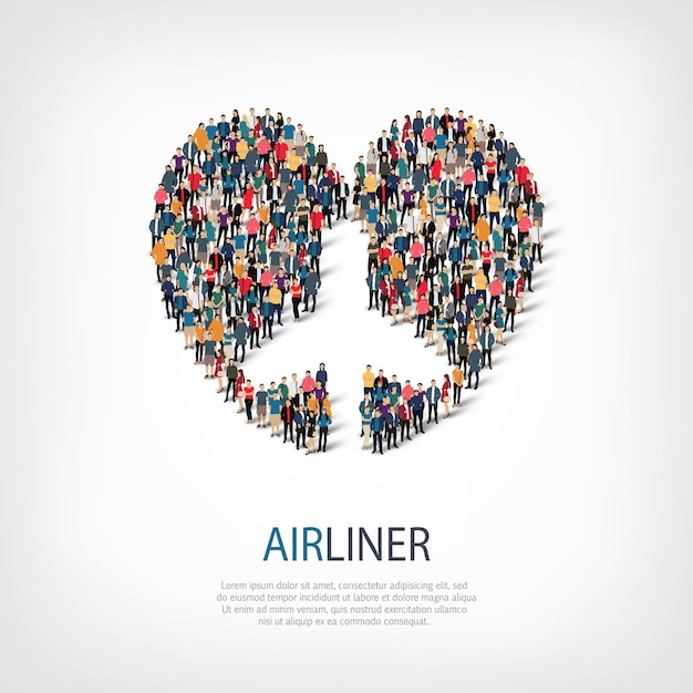 Isometric set of styles, airplane, web infographics concept illustration of a crowded square. crowd point group forming a predetermined shape. creative people. Premium Vector