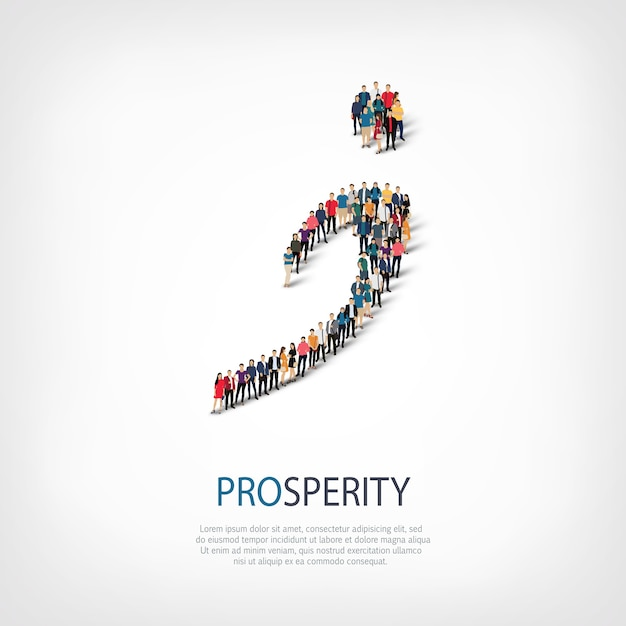 Isometric set of styles, prosperity, web infographics concept  illustration of a crowded square. crowd point group forming a predetermined shape. creative people. Premium Vector
