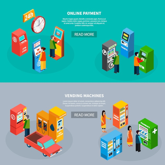 Isometric set of two horizontal banners with people using online payment terminals and different vending machines 3d isolated vector illustration Free Vector