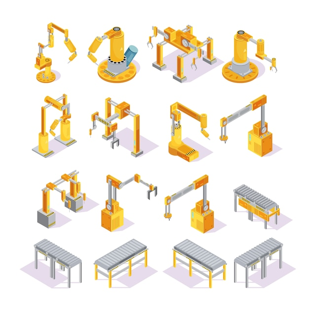 Isometric set of yellow grey conveyor machines with robotic hand for welding or packaging isolated vector illustration Free Vector