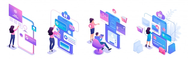 Isometric sets for the use of mobile applications by young entrepreneurs. Premium Vector