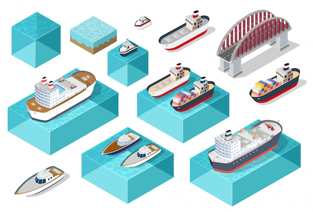 Isometric ship cargo Premium Vector
