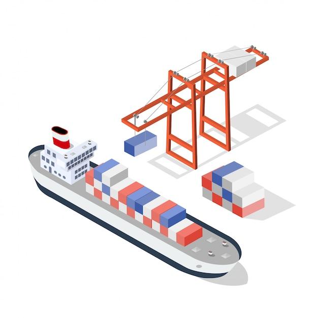 Isometric ship cargo Premium Vector