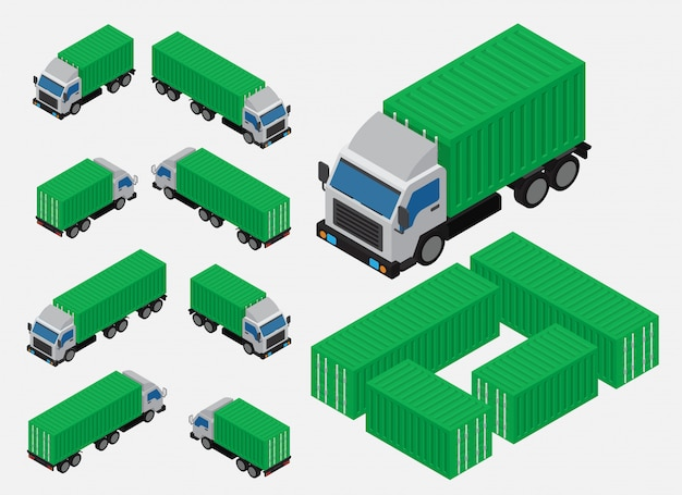 Isometric shipping container truck vector Premium Vector