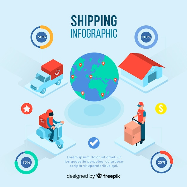 Isometric shipping infographic Free Vector