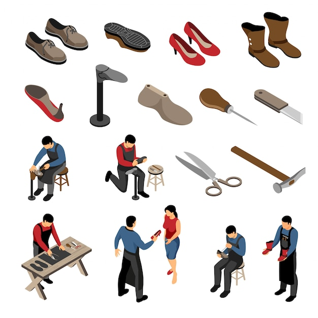 Isometric shoemaker set with various models of shoes for men and women with human characters Free Vector