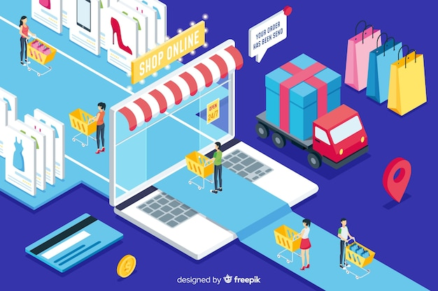 Isometric shop online Free Vector