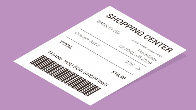 Isometric shop receipt, paper payment bill Free Vector