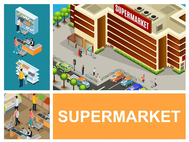 Isometric shopping center composition with supermarket building cars on parking cashier customers pushing carts in hypermarket hall Free Vector