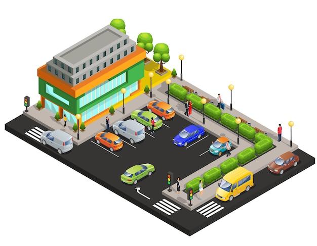等尺性ショッピングセンターコンセプト 無料ベクター