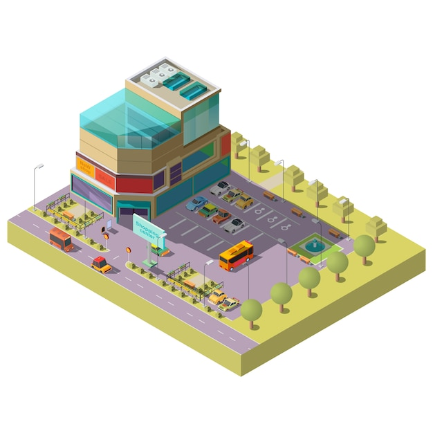 Isometric shopping center with parking area Free Vector