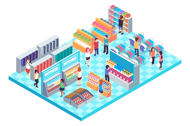 Isometric shopping center Free Vector