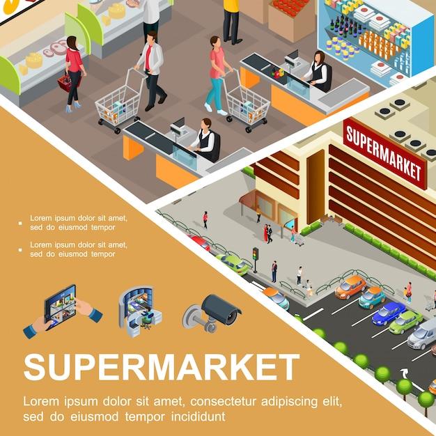 スーパーマーケットホールのビデオカメラと監視システムの駐車場の顧客のレジ係にスーパーマーケットの建物の外装車と等尺性のショッピングモールの構成 無料ベクター
