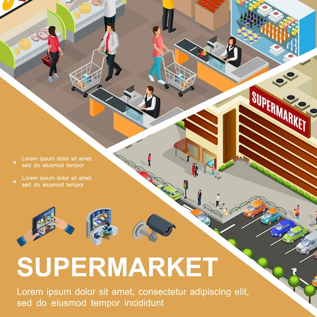 Isometric shopping mall composition with supermarket building exterior cars on parking customers cashier in hypermarket hall video camera and surveillance system Free Vector