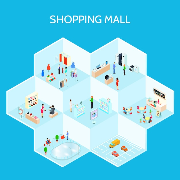 Isometric shopping mall composition Free Vector
