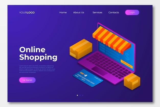 等尺性ショッピングオンラインランディングページ 無料ベクター