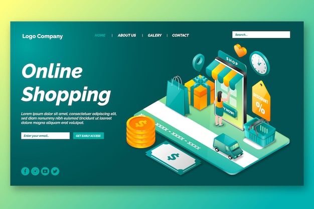 Isometric shopping online landing page Free Vector