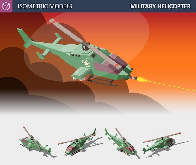等尺性シングルエンジン攻撃ヘリコプターセット。軍事航空輸送。 Premiumベクター