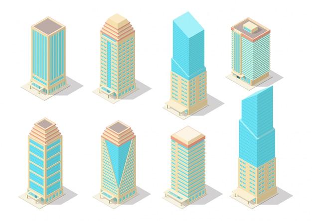 Isometric skyscraper building set Premium Vector