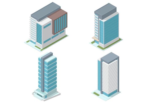 아이소 메트릭 고층 사무실 건물 세트 흰색 절연 프리미엄 벡터