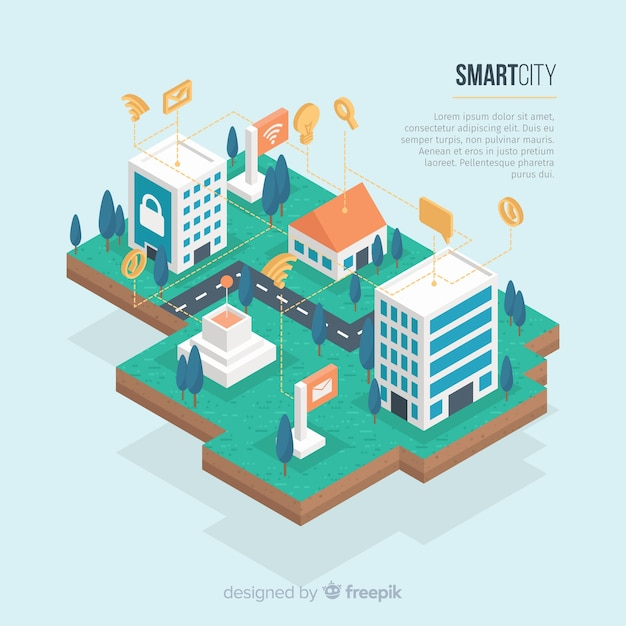 Isometric smart city background template Free Vector