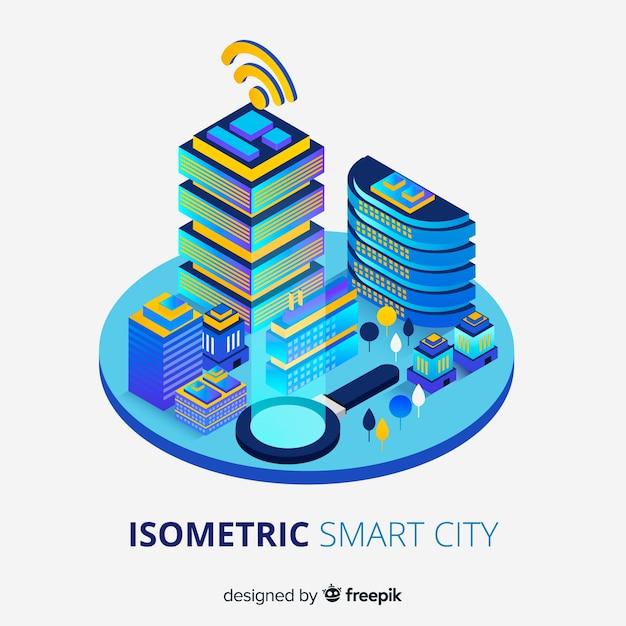 Isometric smart city background Free Vector