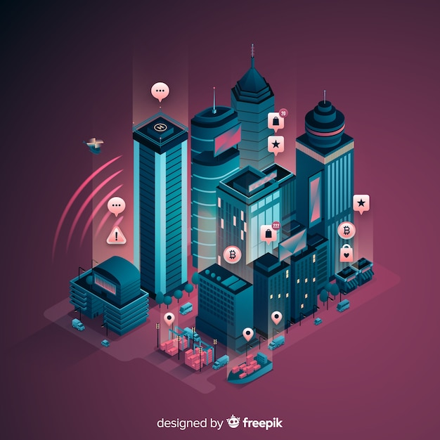 Isometric smart city background Free Vector