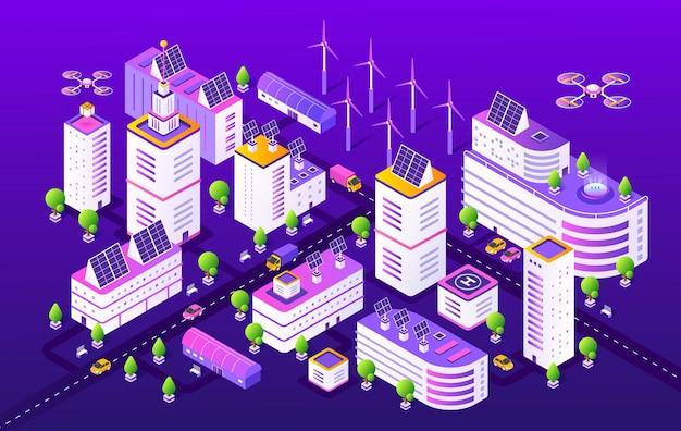 Isometric smart city illustration Premium Vector