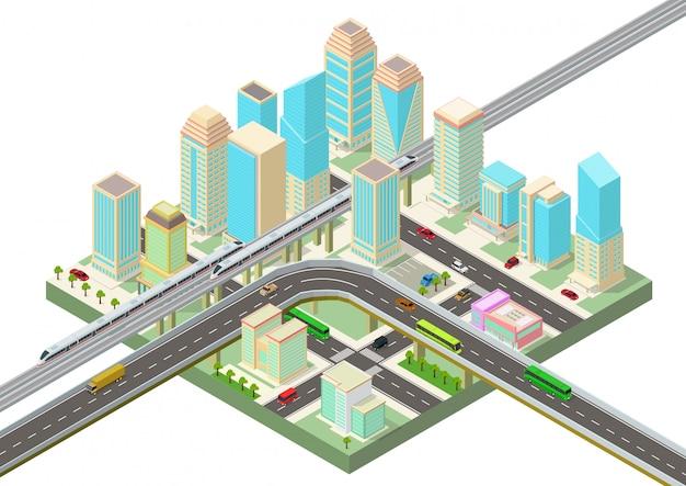 高層ビル、高速道路、交通機関と等尺性のスマートシティ Premiumベクター