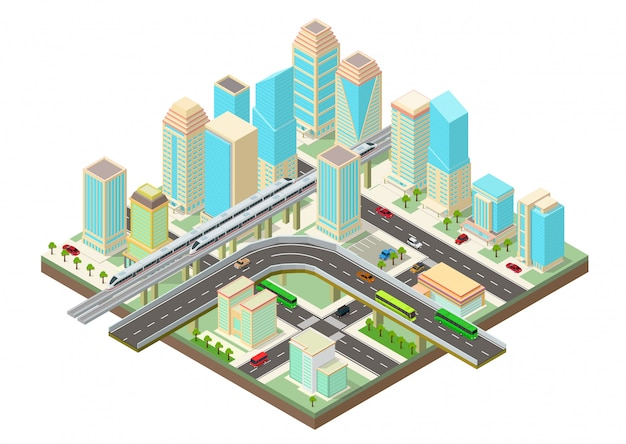 Isometric smart city with skyscrapers, highway and transport Premium Vector