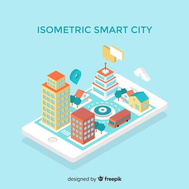 Isometric smart city Free Vector