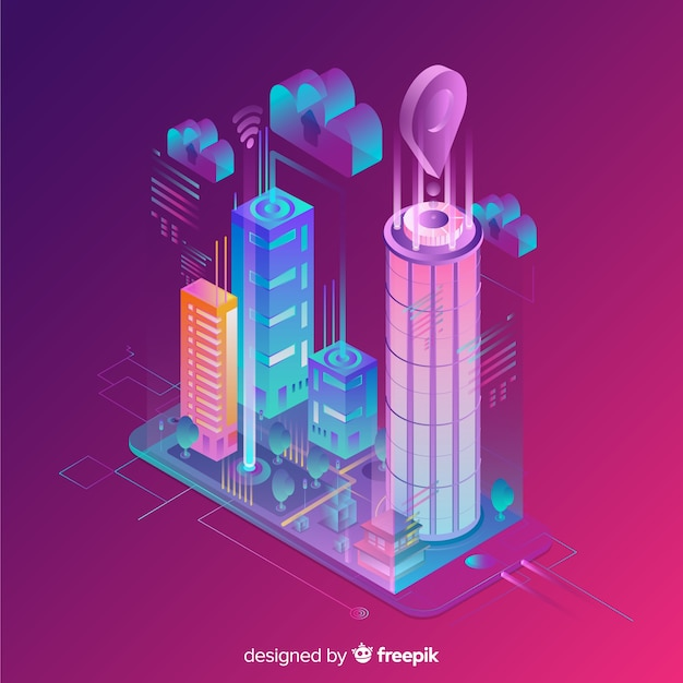 Isometric smart city Free Vector