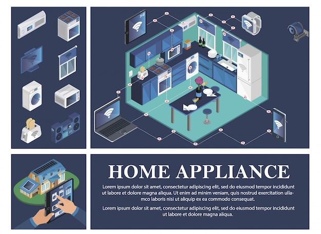 Isometric smart home composition with air conditioner stove tv jalousie washer toaster microwave music center remote control of household appliances from devices Free Vector